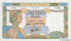 500 Francs LA PAIX FRANCE  1941 F.32.14 SPL