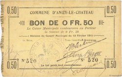 50 Centimes FRANCE régionalisme et divers ANIZY LE CHATEAU 1915 JP.02-0027 TTB+