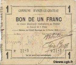 1 Franc FRANCE régionalisme et divers ANIZY LE CHATEAU 1915 JP.02-0032 TTB