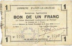1 Franc FRANCE régionalisme et divers ANIZY LE CHATEAU 1915 JP.02-0038 pr.TTB