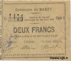 2 Francs FRANCE régionalisme et divers BARZY 1915 JP.02-0124 SUP