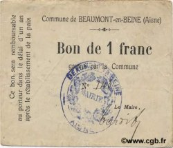 1 Franc FRANCE régionalisme et divers BEAUMONT-EN-BEINE 1916 JP.02-0132 TTB