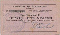 5 Francs FRANCE régionalisme et divers BEAUREVOIR 1914 JP.02-0140 TTB