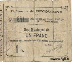 1 Franc FRANCE régionalisme et divers BECQUIGNY 1914 JP.02-0169 B+