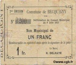 1 Franc FRANCE régionalisme et divers BECQUIGNY 1915 JP.02-0171 TTB