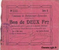 2 Francs FRANCE régionalisme et divers BERTAUCOURT-EPOURDON 1915 JP.02-0236 TTB