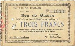 3 Francs FRANCE régionalisme et divers BOHAIN 1915 JP.02-0257 TTB