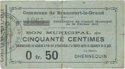 50 Centimes FRANCE régionalisme et divers BRANCOURT-LE-GRAND 1915 JP.02-0333 TB