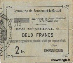 2 Francs FRANCE régionalisme et divers BRANCOURT-LE-GRAND 1915 JP.02-0335 TTB