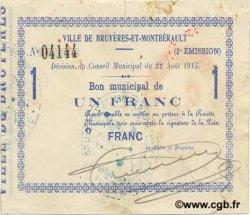 1 Franc FRANCE régionalisme et divers BRUYERES ET MONTBERAULT 1915 JP.02-0378 TTB