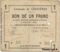 1 Franc FRANCE régionalisme et divers CESSIERES 1915 JP.02-0426 TTB