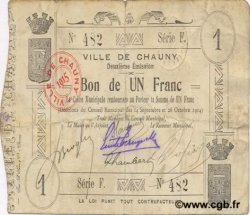 1 Franc FRANCE régionalisme et divers CHAUNY 1914 JP.02-0465 TB