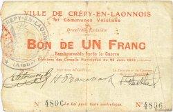 1 Franc FRANCE régionalisme et divers CREPY EN LAONNOIS 1915 JP.02-0542 TB