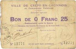 25 Centimes FRANCE régionalisme et divers CREPY EN LAONNOIS 1915 JP.02-0545 TB