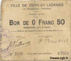 50 Centimes FRANCE régionalisme et divers CREPY EN LAONNOIS 1915 JP.02-0546 TB