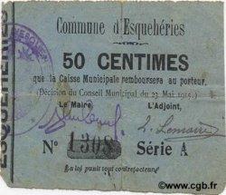50 Centimes FRANCE régionalisme et divers ESQUEHERIES 1915 JP.02-0655 TB