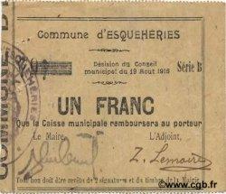 1 Franc FRANCE régionalisme et divers ESQUEHERIES 1915 JP.02-0657 TTB