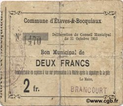 2 Francs FRANCE régionalisme et divers ETAVES ET BOCQUIAUX 1915 JP.02-0729 TB