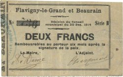 2 Francs FRANCE régionalisme et divers FLAVIGNY LE GRAND ET BEAURAIN 1914 JP.02-0862v TTB
