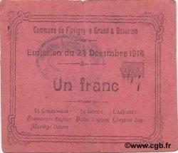 1 Franc FRANCE régionalisme et divers FLAVIGNY LE GRAND ET BEAURAIN 1914 JP.02-0870 TTB