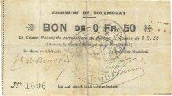 50 Centimes FRANCE régionalisme et divers FOLEMBRAY 1915 JP.02-0914 TB