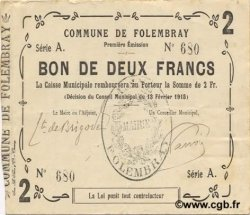 2 Francs FRANCE régionalisme et divers FOLEMBRAY 1915 JP.02-0916 TTB