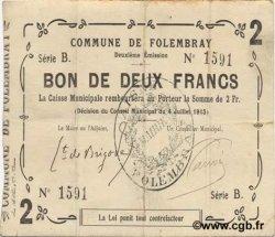 2 Francs FRANCE régionalisme et divers FOLEMBRAY 1915 JP.02-0924 TTB