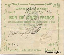 20 francs FRANCE régionalisme et divers FOLEMBRAY 1915 JP.02-0927 TTB+
