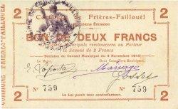 2 Francs FRANCE régionalisme et divers FRIERES FAILLOUEL 1915 JP.02-1035 TTB