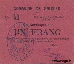 1 Franc FRANCE régionalisme et divers GRUGIES 1915 JP.02-1095 NEUF
