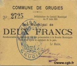 2 Francs FRANCE régionalisme et divers GRUGIES 1915 JP.02-1096 SPL