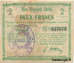 2 Francs FRANCE régionalisme et divers GRUGIES 1916 JP.02-1100.BRU TTB