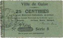 25 Centimes FRANCE régionalisme et divers GUISE 1915 JP.02-1105 TB