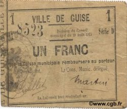 1 Franc FRANCE régionalisme et divers GUISE 1915 JP.02-1116 TTB