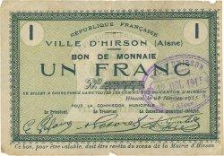1 Franc FRANCE régionalisme et divers HIRSON 1915 JP.02-1178 TTB