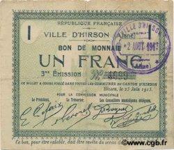 1 Franc FRANCE régionalisme et divers HIRSON 1915 JP.02-1181 TTB
