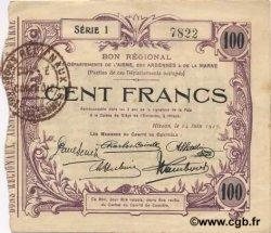 100 Francs FRANCE régionalisme et divers HIRSON 1917 JP.02-1201 TTB+
