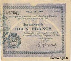 2 Francs FRANCE régionalisme et divers LAON 1915 JP.02-1276 TTB