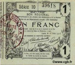 1 Franc FRANCE régionalisme et divers LAON 1916 JP.02-1309 SUP