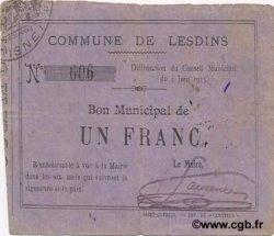 1 Franc FRANCE régionalisme et divers LESDINS 1915 JP.02-1347 TTB