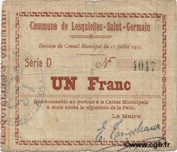 1 Franc FRANCE régionalisme et divers LESQUIELLES-SAINT-GERMAIN 1915 JP.02-1362 TB+