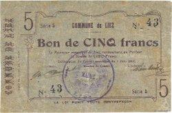 5 Francs FRANCE régionalisme et divers LIEZ 1915 JP.02-1383 TTB