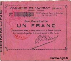1 Franc FRANCE régionalisme et divers NAUROY 1914 JP.02-1622 TTB