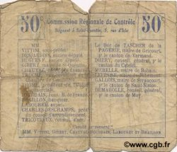 50 Centimes FRANCE régionalisme et divers NAUROY 1916 JP.02-1638.BRU B