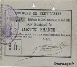 2 Francs FRANCE régionalisme et divers NEUVILLETTE 1915 JP.02-1662 TTB