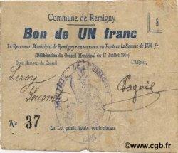 1 Franc FRANCE régionalisme et divers REMIGNY 1915 JP.02-1912 pr.TTB