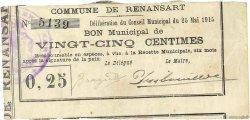 25 Centimes FRANCE régionalisme et divers RENANSART 1915 JP.02-1917 TTB