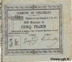 5 Francs FRANCE régionalisme et divers RENANSART 1915 JP.02-1921 TB+