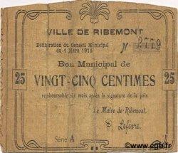 25 Centimes FRANCE régionalisme et divers RIBEMONT 1915 JP.02-1929 B