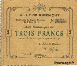 3 Francs FRANCE régionalisme et divers RIBEMONT 1915 JP.02-1933 TTB